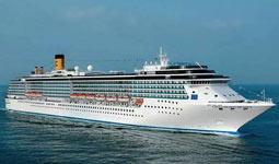 Visão externa do navio de cruzeiro Costa Mediterranea da Costa Cruzeiros